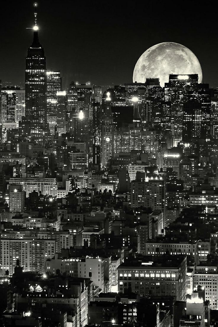 Moon Over Manhattan w York City Stock Photo Picture And