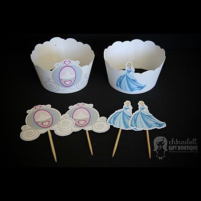 Cinderella cupcake wrappers and toppers by ch!nadoll gift boutique