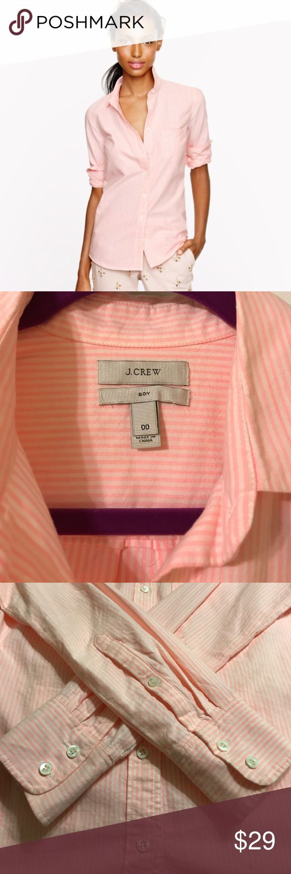 """J CREW Oxford Shirt J CREW Women's Oxford shirt in """"boy"""" fit in a light pink and white stripped. Shirt is 100% cotton so does look best when ironed. Can be dressed up for work or dressed down with cute boyfriend jeans. Shirt is in perfect condition - no marks, stains and all buttons attached J. Crew Tops Button Down Shirts"""