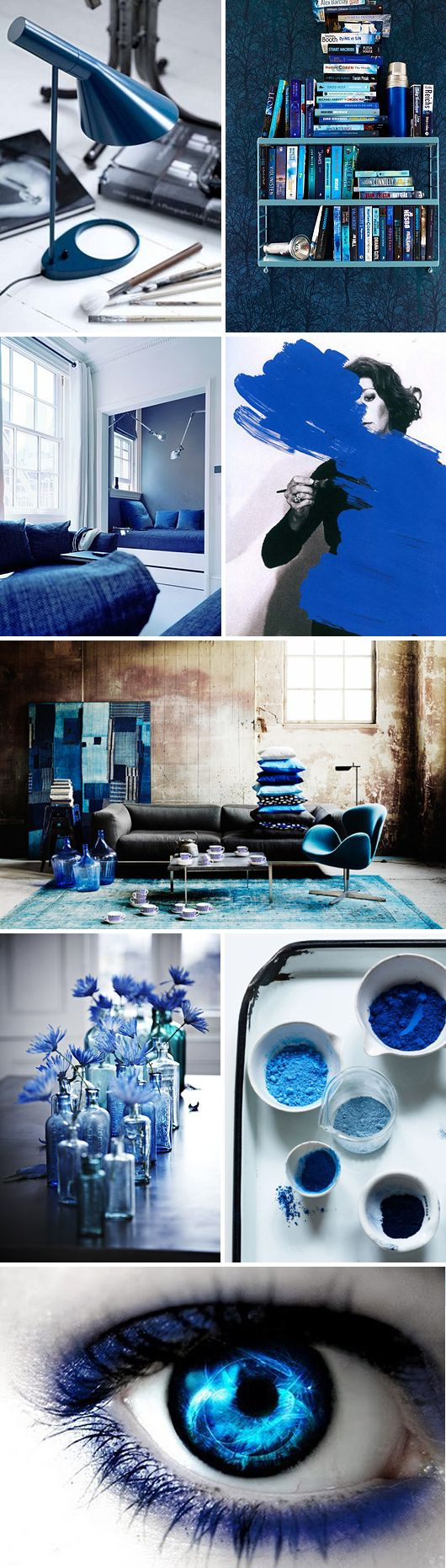 Blue mood board, inspiring in interior design. See more inspirations at http://www.brabbu.com/en/inspiration-and-ideas/ #MoodBoardIdeas #MoodBoardDesign #MoodBoardFashion