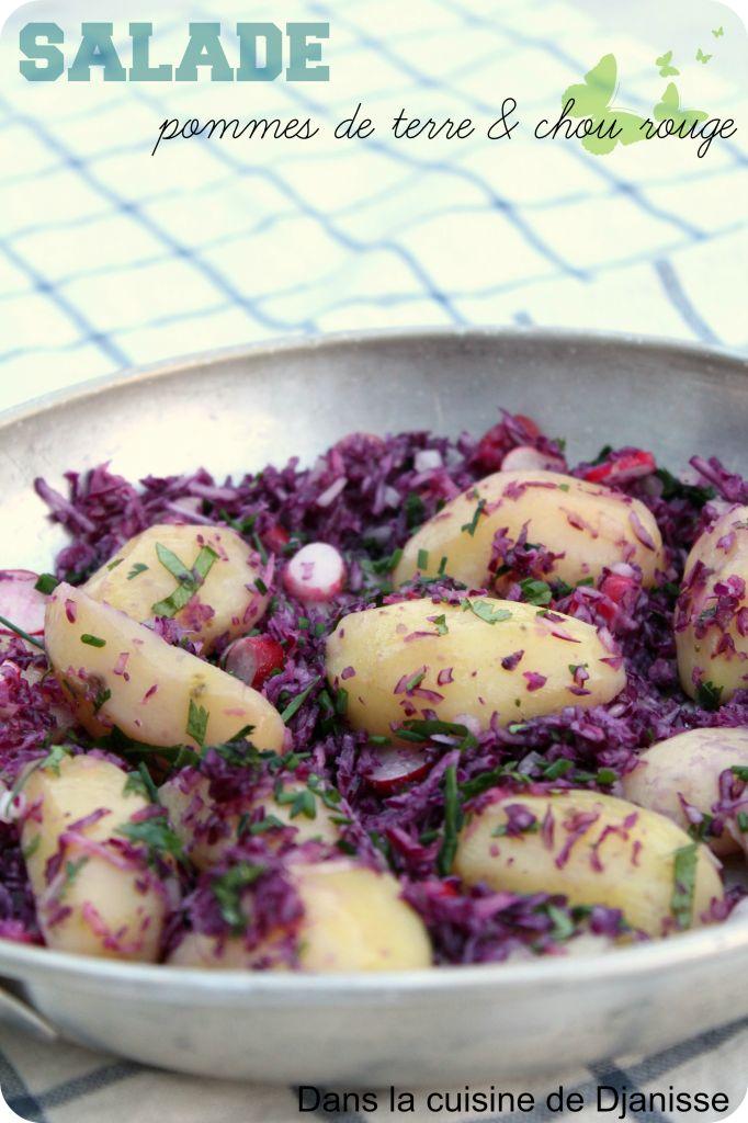Salades de pommes de terre  & chou rouge (vegan)