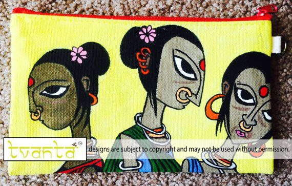 Indian Tribal Women Hand Painted Cotton Canvas Clutch by Tvanta