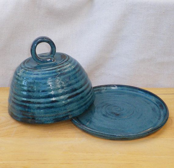 butter dish Cheese dome dish and plate in stoneware by CaractacusPots on Etsy, £27.99