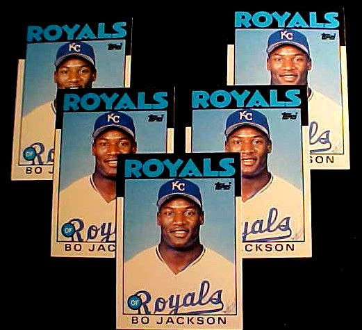 BO JACKSON  1986 Topps Traded #50T  (RC)  LOT OF FIVE (5) CARDS