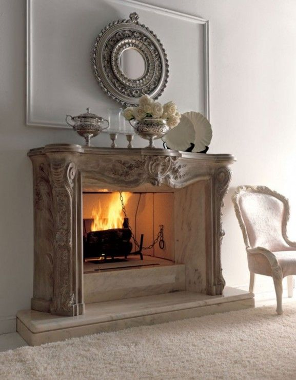 Antique White Distressed Mantle Fireplace For Formal Room... Love Floral  Center Piece On