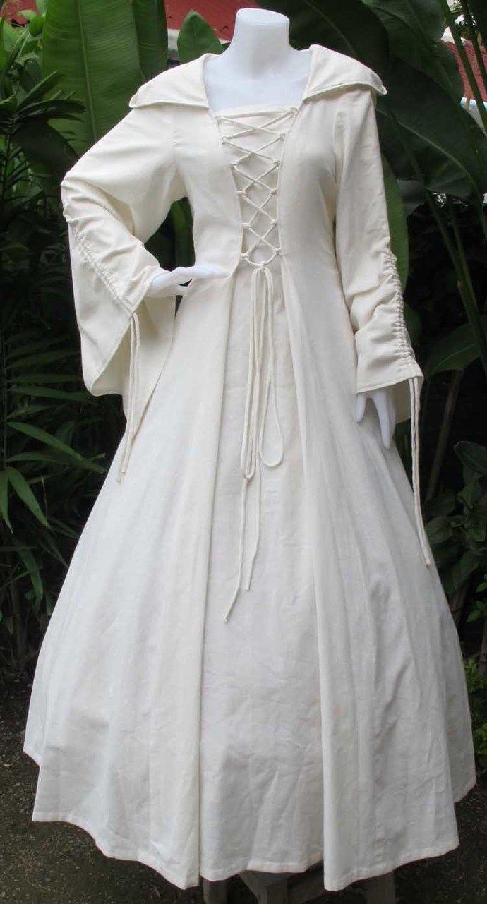 9708c147621 White Hooded Dress, Long Medieval Cloak, Ren Faire Clothing ...