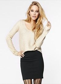 Foil V-Neck High Low Sweater #DYNHOLIDAY