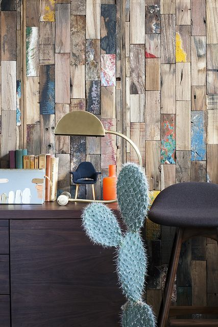 Timber look wall paper and sensational cactus! Lovely, fun styling. Cute mini chair too!!!