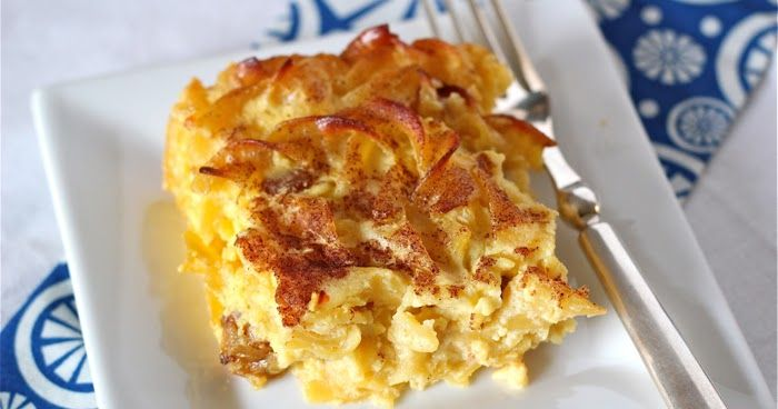 Family recipe for noodle kugel, a traditional Hanukkah dish that can also double as a great brunch casserole for feeding a crowd -- from the Kitchen Ninja (a Vermont food blog).