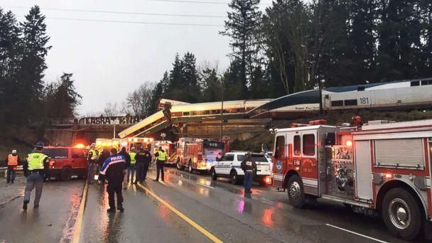 PHOTO: Emergency crews respond to the scene of a train derailment in Washington state, Dec. 18, 2017. (Washington State Police)