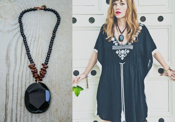ACACIA necklace with BLACK AGATE slab //  large by IRONWOLFjewelry