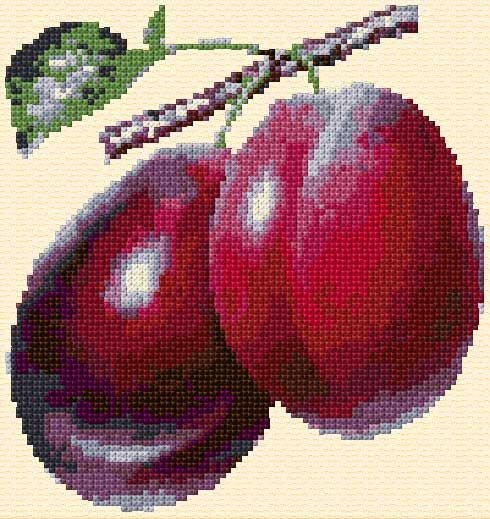 Cross Stitch | Plums xstitch Chart | Design