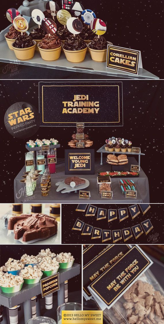 Star Wars Party - Classic Saga Printable Birthday Party Decorations - Gold Yellow Black - COMPLETE SET