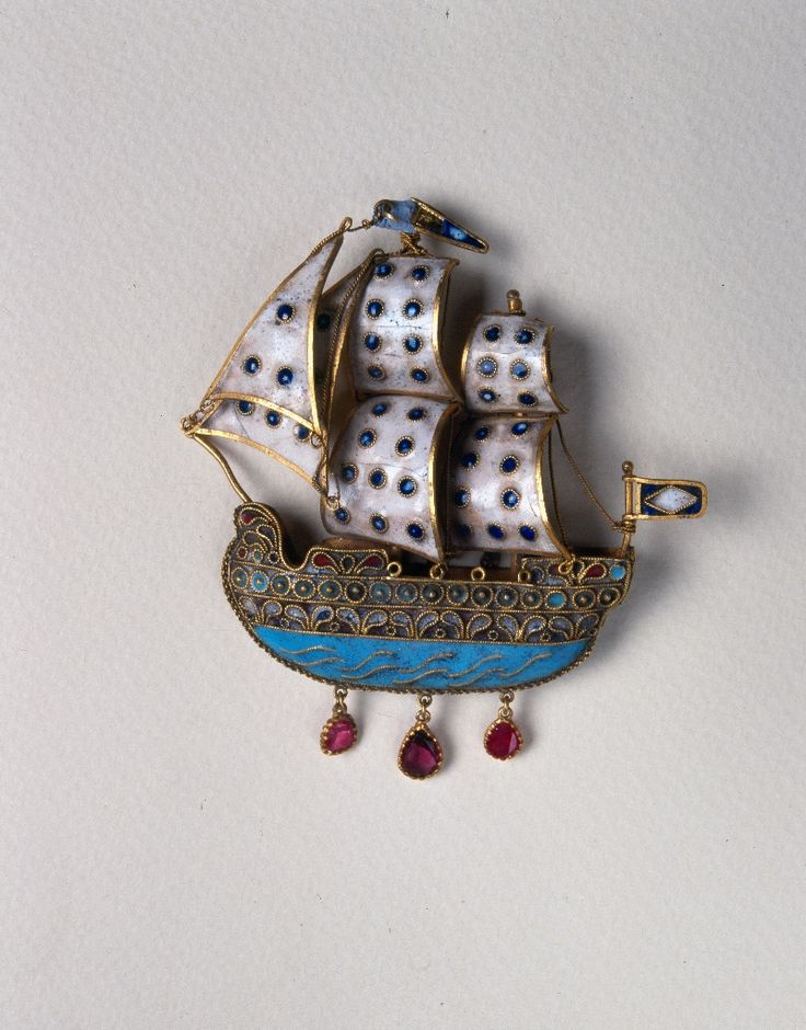 "peloponnesianfolklorefoundation:  "" Earring. Enameled sailing ship (H 0.079 m.). Dodecanese, Patmos 18th c. Collection Peloponnesian Folklore Foundation  """