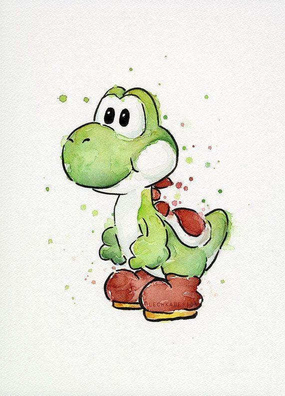 Yoshi-Aquarell - Original Mario Malerei ORIGINAL Aquarell von der Dinosaurier Yoshi aus meiner Lieblings-Videospiel.  -Daniel Smith Aquarelle &