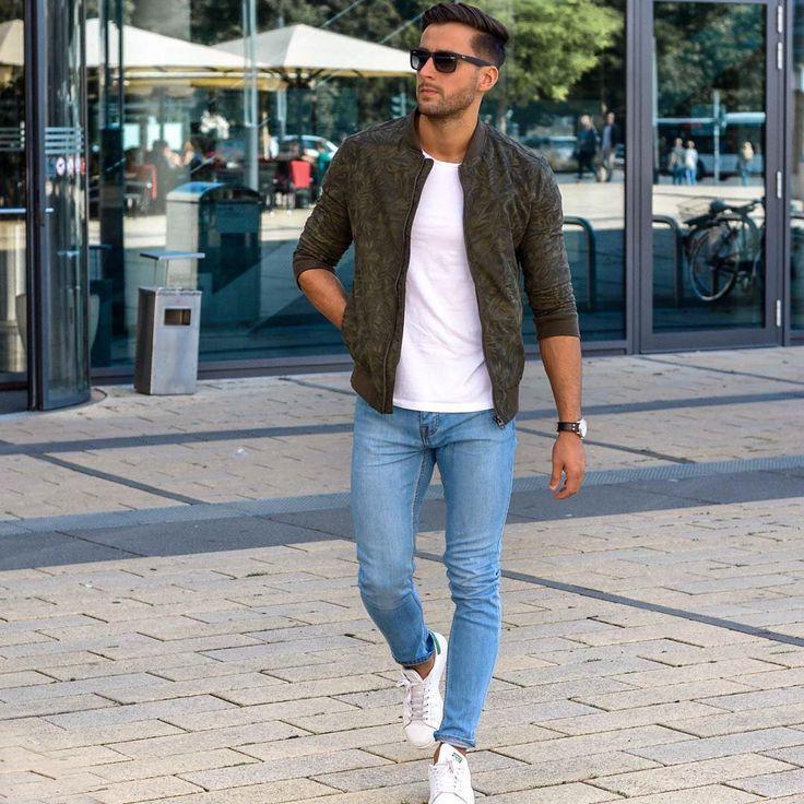 Die: Sneakers + Lightblue Jeans + White T-shirt + Jackets ...