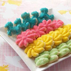 Spritz Cookies yeild 66 cookies can divide dough into a few balls add a different  color of food dye to each ball and start loading colors in tube and will change colors as you go.