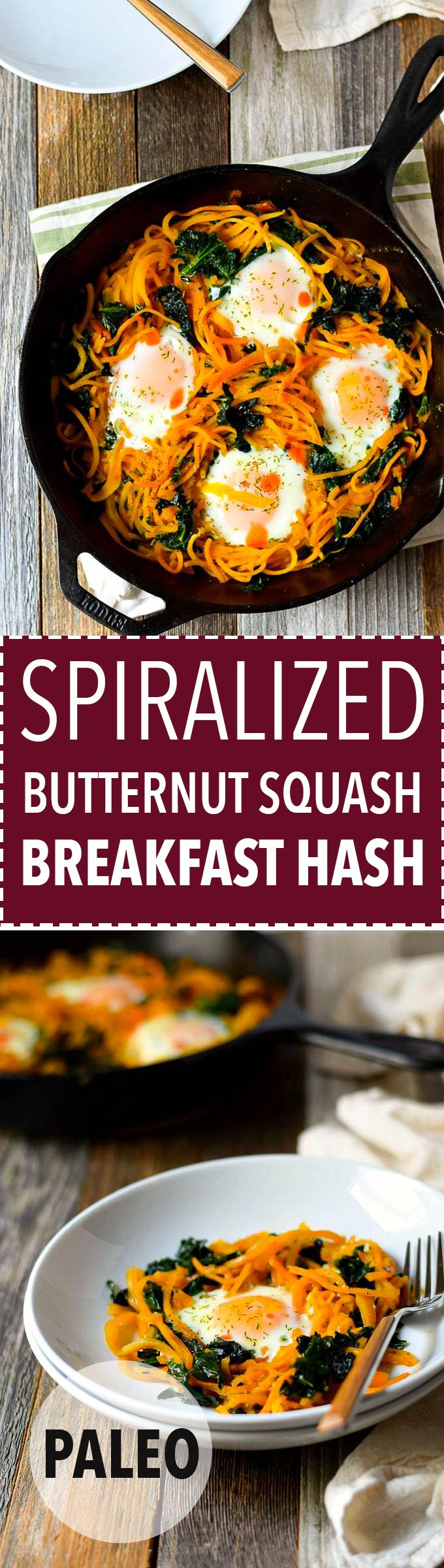 Butternut squash noodle hash is a healthy, filling breakfast with spiralized butternut squash noodles! (Paleo, Whole30)