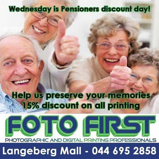 Don't forget about our #Pensioners day 15% #discount on all printing only at Fotofirst Mosselbay.