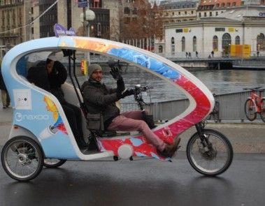 Partenariat décembre 2014 avec les taxibikes de Genève.