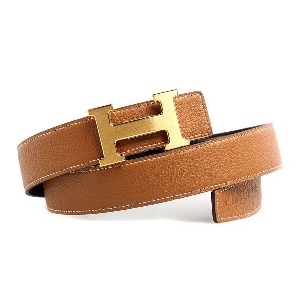 Hermes Togo classic belt in cognac. More