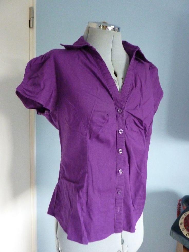 S14 DORETHY PERKINS Purple Nu Romantic Style Shirt Sleeve Blouse Shirt