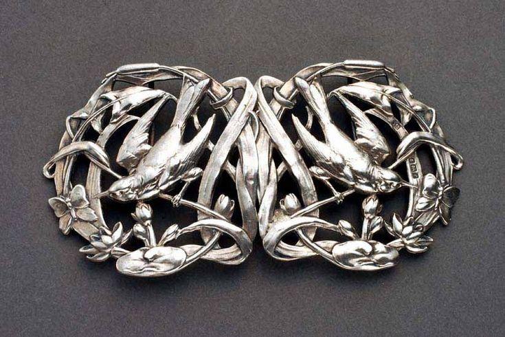 Edward VII silver Art Nouveau belt buckle  Year: 1905   JV