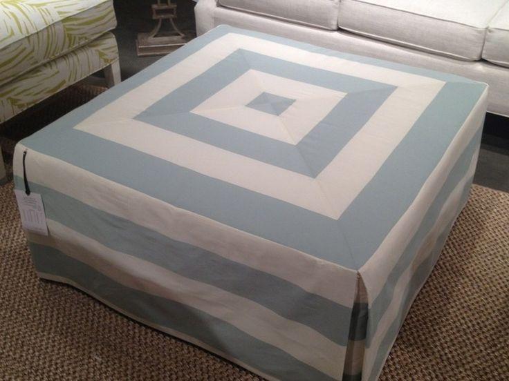 stripe fabric ottoman slipcover