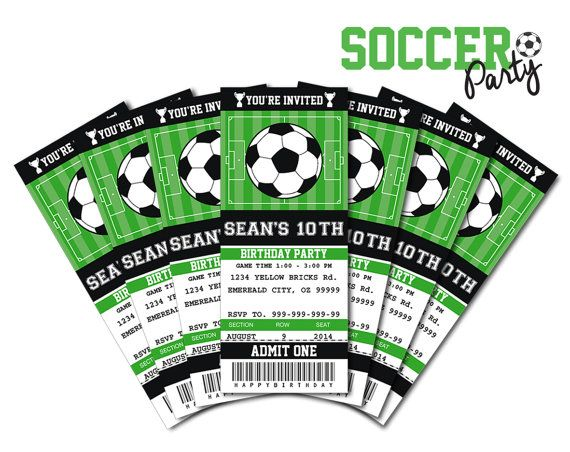 soccer birthday party invitation ticket printable as a pdf file for you to print at home - Soccer Party Invitations