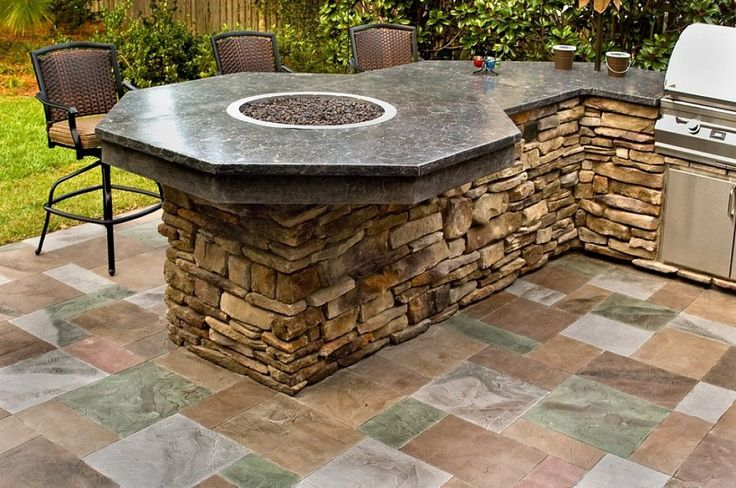 Concrete outdoor counter top with a little fire pit in the center. Description from pinterest.com. I searched for this on bing.com/images