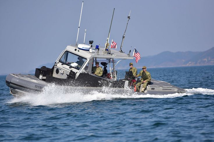 U.S. Coast Guardsmen assigned to Coast Guard Port Security Unit 312 conduct an underway area familiarization patrol aboard a 32-foot transportable port security boat during Operation Pacific Reach Exercise 2017 (OPRex17) in Pohang, South Korea, April 2, 2017. OPRex17 is a bilateral training event designed to ensure readiness and sustain the capabilities which strengthen ROK-U.S. Alliance. (U.S. Coast Guard photo by Petty Officer 1st Class Rob Simpson)