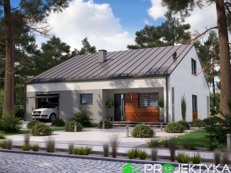 ✨Niedrogi w budowie projekt domu parterowego z garażem✨ Ka38 http://bit.ly/projekty-parterowe ▪️do 120 m2, dwuspadowy dach ▪️półotwarta kuchnia ▪️pomieszczenie gospodarcze z przejściem do garażu