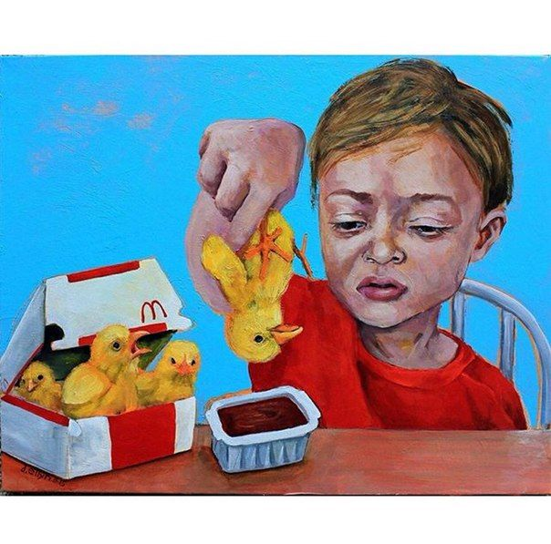 This shows a child devouring chicken nuggets, but chicken is in its living form to show that people need to think more about the origination of the food and the lives of the animals rather than just eating without thinking about the resulting affects. S.R.
