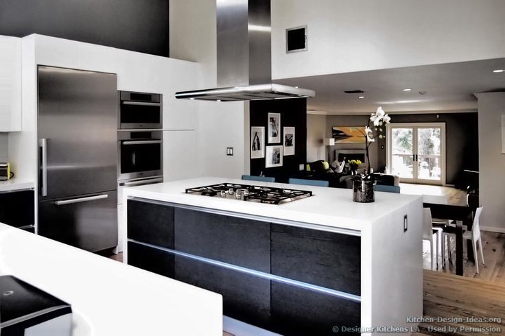 Modern Black And White Kitchen, Island Hood   Designer Kitchens LA