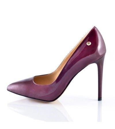 Pantofi stiletto lac bordo