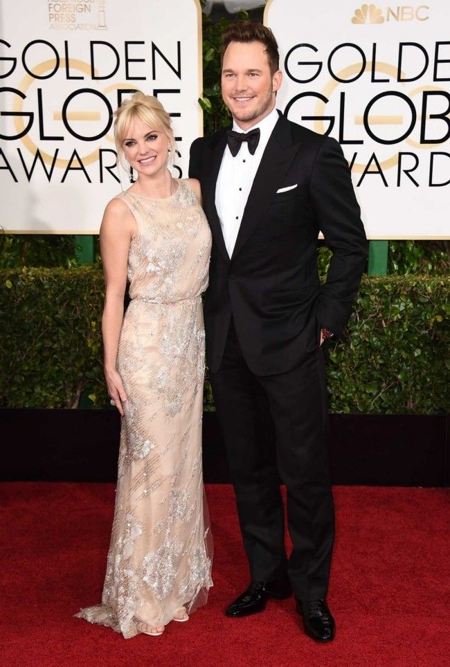 Golden Globes 2015: what they're wearing: Anna Faris in Reem Acra and Chris Pratt