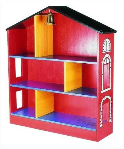 Firehouse bookshelf. Perfect to hold books about firefighters in the firehouse exhibit!