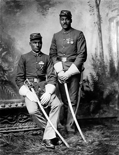 "Buffalo Soldiers were members of an all-black regiment in the U.S. Army. The 10th Cavalry was formed on September 21, 1866 at Fort Leavenworth and was the regiment that the Native Americans first called ""buffalo soldiers."""