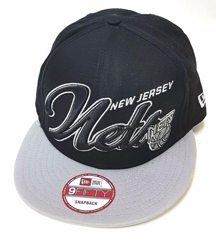 New Era New Jersey Nets Flat brim Snap back Hat Cap Black, Grey and White   | eBay