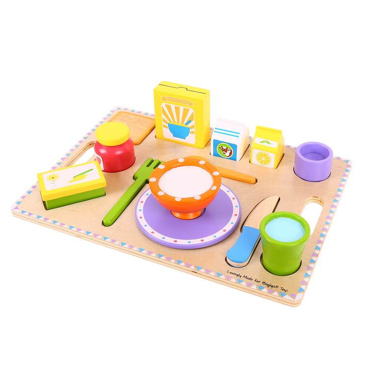The most important meal of the day is ready to be served! This colourful wooden set is ideal for encouraging imaginative role play and contains almost everything you could ever hope to find on a single breakfast tray. There's milk and juice cartons, cereal, jam and butter to complement the vibrant wooden crockery and utensils. Ages 3 years and up. 14 play pieces. http://shop.bigjigstoys.co.uk/p/breakfast-tray