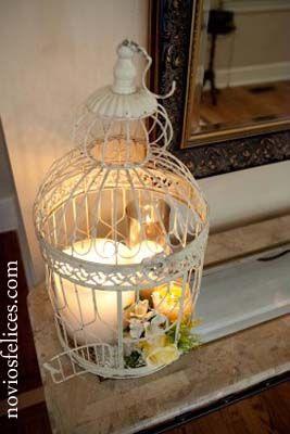 Jaula vintage con velas