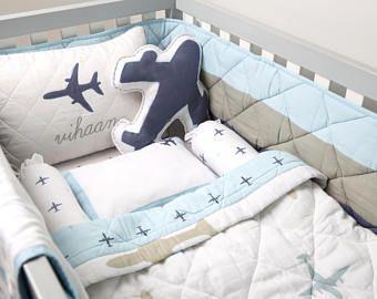 Soñar con alas orgánica cuna ropa de cama Set, ropa de cama de cuna guardería personalizada manta del bebé, bebé, ropa de cama, Set de cuna avión, lecho orgánico