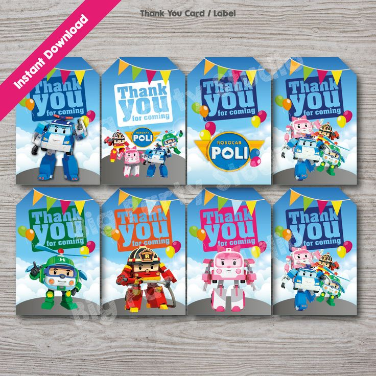 Robocar Poli Appreciation Thank You Card, Robocar Poli Thank You Tag, Robocar Label, Printables, Instant Download, DIY and Ready to Print by Bigpartystudio on Etsy
