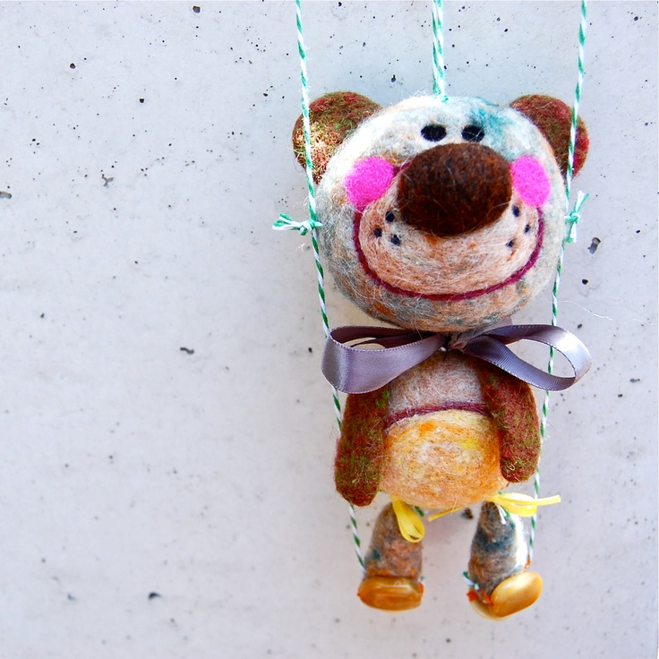 Needle Felted One of a Kind Dancing Teddy Bear Marionette. $80.00, via Etsy.