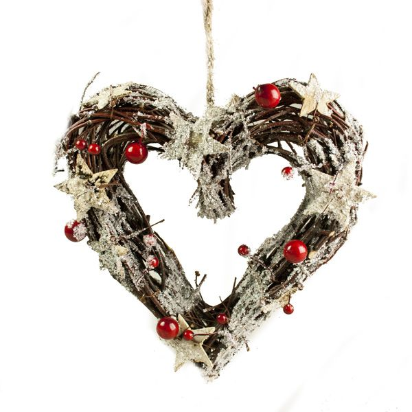 Brown Twig Heart Wreath With Birch Stars