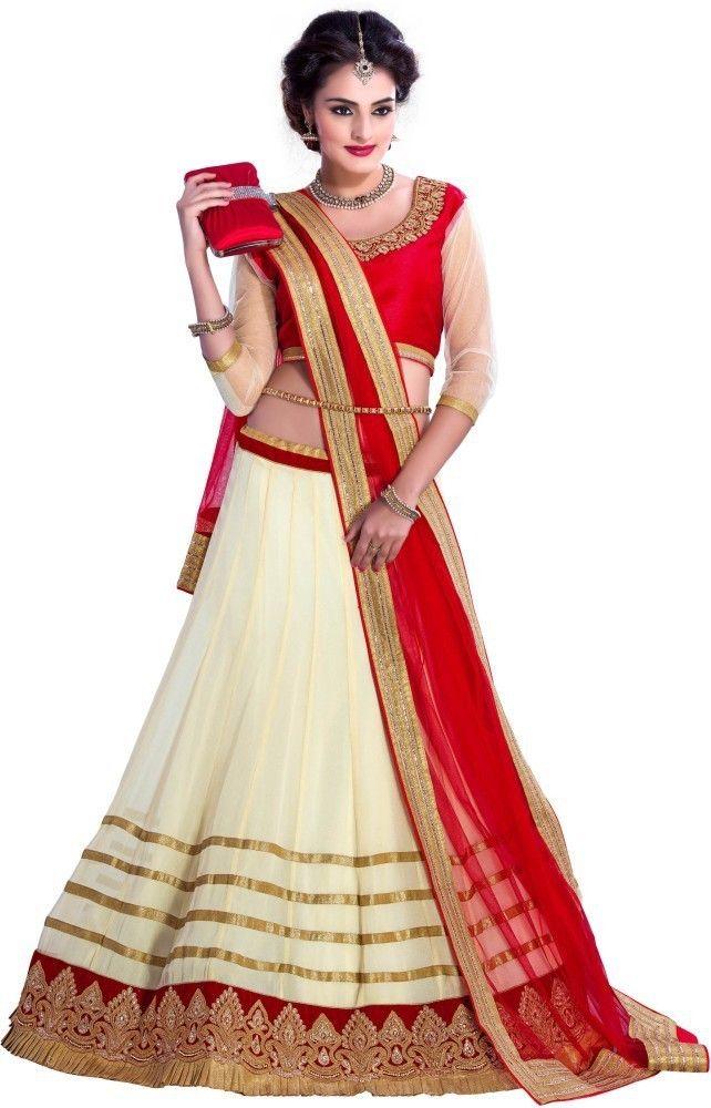 c674d2cc97 Khazanakart Self Design Women's Lehenga, Choli and Dupatta Set - Buy Off  White, Royal Red Khazanakar… | Buy Online sarees sari | At  www.khazanakart.com ...