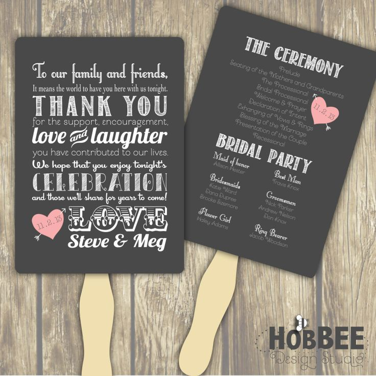 thank you note for wedding gift sample%0A Chalkboard style wedding program with thank you message to guests  From  Hobbee Design Studio