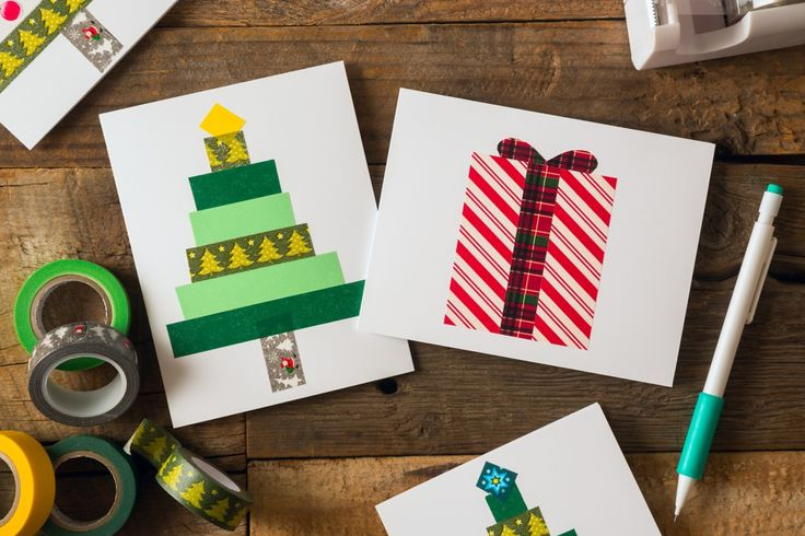 Create your own fun Christmas cards just using Avery Greeting Cards and different styles of washi tape.  There is no end to the designs you can make.  Cut a few small slits inside the card and you have an instant gift card holder. You can also print an image on your card using free Avery templates and then embellish it with your washi tape. Just have fun! And check out all the other quick and easy DIY Christmas gift ideas from Avery.