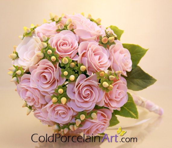 Pink Roses Bouquet by ColdPorcelainArt. Handcrafted cold porcelain flowers. Great keepsake! #bouquet, #weddings, #weddingflowers