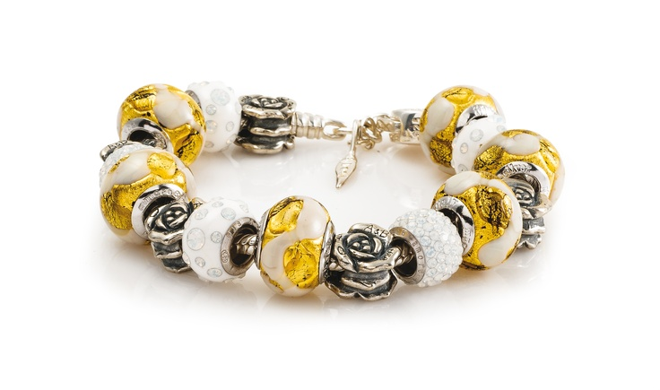 Amore & Baci silver beaded bracelet - golden and white Murano glass and Swarovski beads